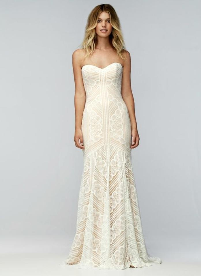 Wtoo Ivory With Champagne Underlay Lace Betty Gown Feminine Wedding Dress Size 4 S 20 Off Retail