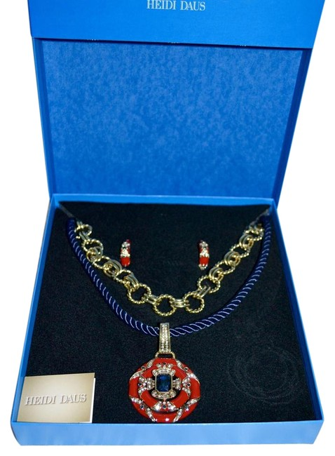 """Item - Red and Navy Bronzetone """"Newport Chic"""" Enamel Crystal Suite Blue Necklace"""