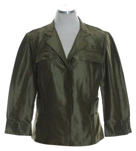 Carlisle Woven 100% Silk Taffeta Crop Snap Button Olive Green Jacket