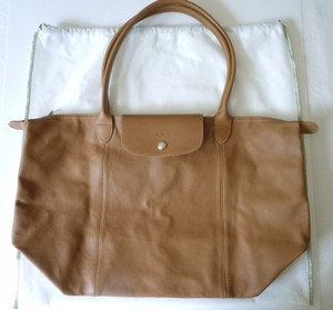 aeb00402e128 Longchamp Lambskin Tan Tote in natural brown. Longchamp Le Pliage Cuir  Large Made In France ...