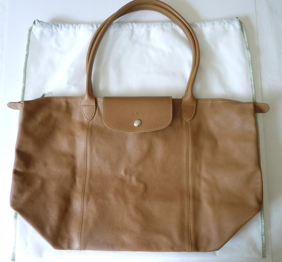7125c1a486b4 Longchamp Le Pliage Cuir Large Made In France Dustbag Natural Brown  Lambskin Leather Tote