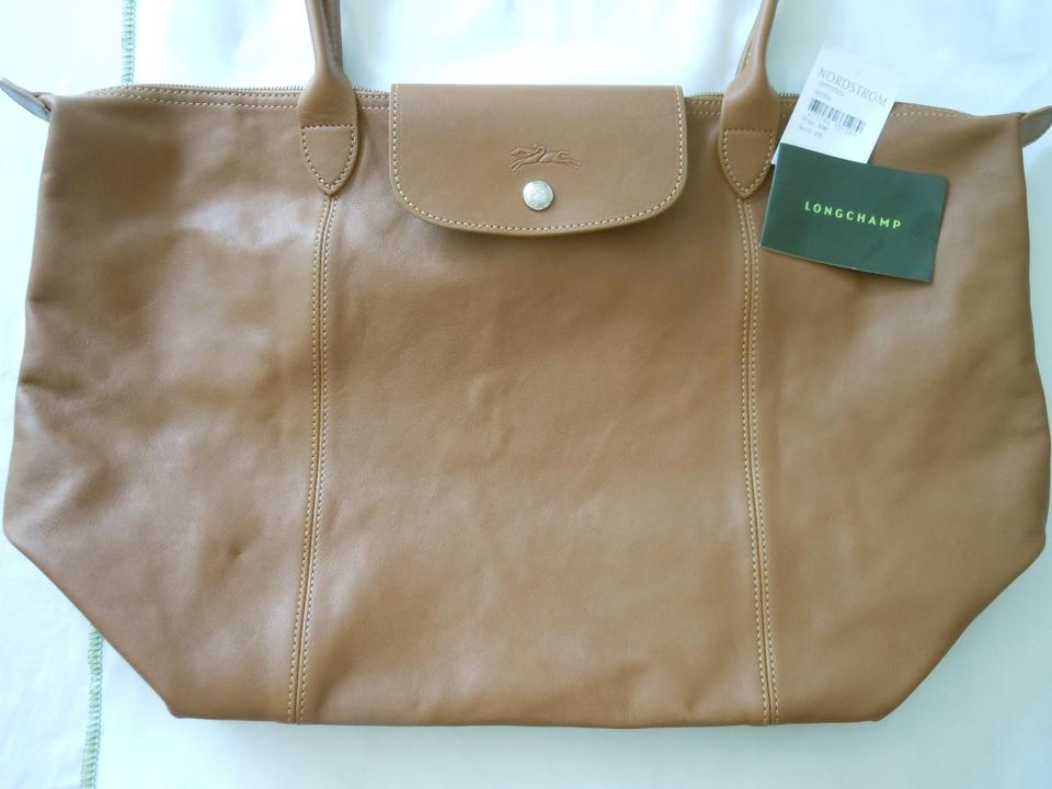 22b5000f56e4 Longchamp Le Pliage Cuir Large Made In France Dustbag Natural Brown ...