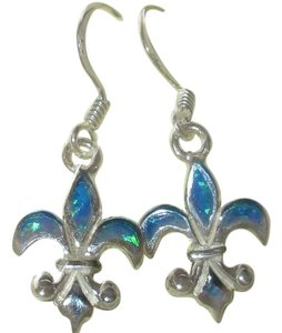 rlss STERLING Silver Blue Opal Fleur de Lis Dangle Earrings 1.5