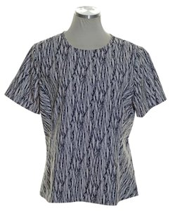 Vince Camuto Woven Short Sleeve Printed Top Black White