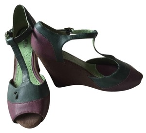 Anthropologie Plum & Muted Teal Wedges