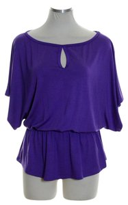 Trina Turk Knit Dolman Keyhole Stretchy Top Purple