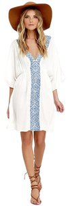 Lulu*s Love Your Way Blue and Ivory Embroidered Cover-Up