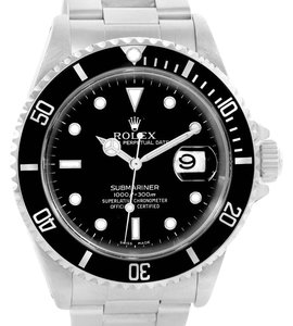 Rolex Rolex Submariner Mens Stainless Steel Black Dial Watch 16610