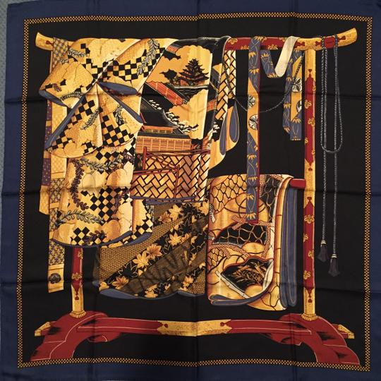 Wathne Wathne Silk Twill Scarf with Japanese Robes on Stand