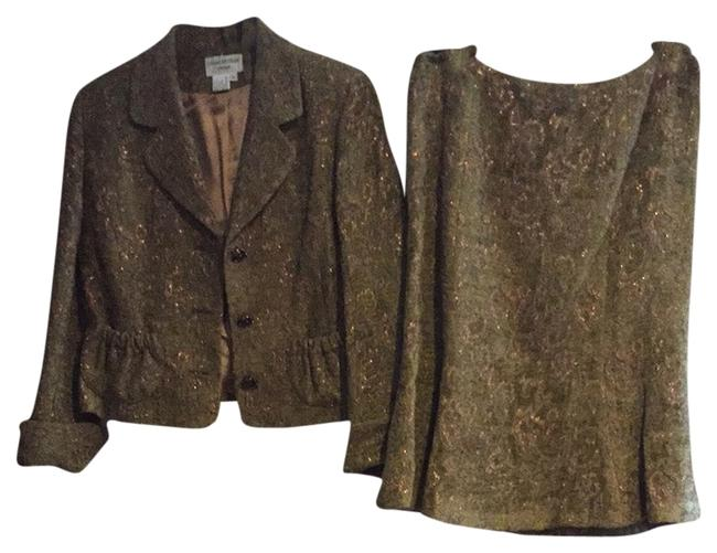Item - Green and Gold Skirt Suit Size 12 (L)