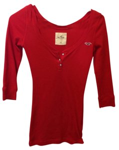 Hollister Studded Button T Shirt Red