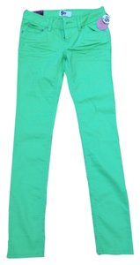Social Occasions by Mon Cheri Bright Neon Denim Skinny Pants Mint