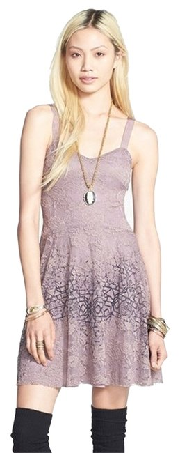 Free People Flocked Velvet Lace Fit & Flare Sz 6 Sm Dress