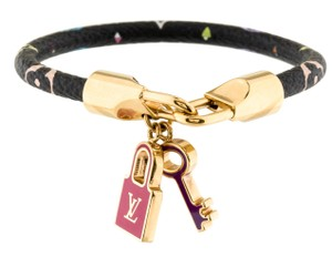 Louis Vuitton Gold-tone Louis Vuitton multicolor monogram leather Alma bracelet