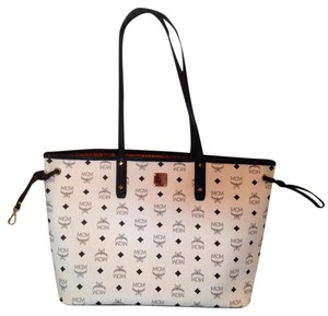 MCM Tote in White and black