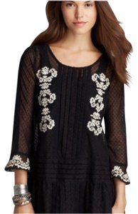 Free People Top Black with white flowers