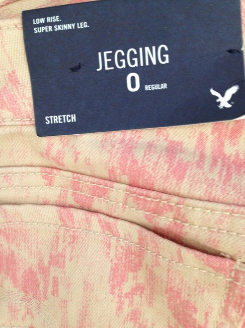 American Eagle Outfitters Jeggings Print Stretchy Zippers Pink Skinny Pants Blush
