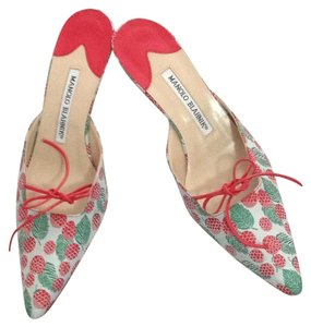 Manolo Blahnik Red, green Pumps