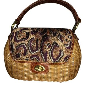 Eric Javits Wicker Embroidered Crocodile Twist-lock Baguette