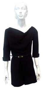 Black Halo 3/4 Sleeve Belted Cowl Romper Dress