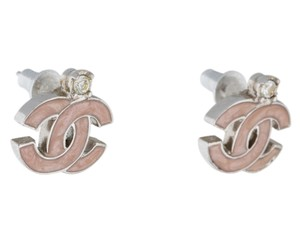 Chanel Silver tone Chanel interlocking CC pink enamel stud earrings