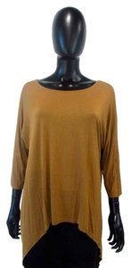 Inspired Style Silk 3/4 Sleeve High Low Knit T Shirt Brown