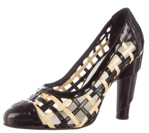Chanel Patent Leather Black, White Pumps