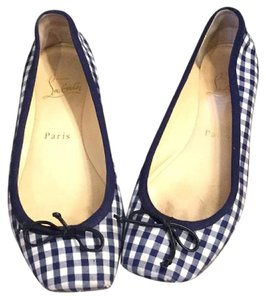 Christian Louboutin Gingham Two-tone Red Soles Square Toe Blue and white Flats