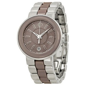 Movado Movado Cerena Smoky Lilac Dial Stainless Steel And Ceramic Ladies Watch