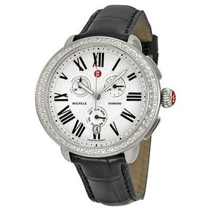 Michele Michele Serein Chronograph Silver Dial Brown Leather Ladies Watch