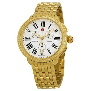 Michele Michele Serein Diamond Chronograph Gold-tone Steel Ladies Watch