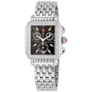 Michele Michele Signature Deco Black Dial Diamond Bezel Stainless Steel Ladies Watch