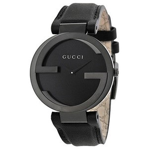 Gucci Gucci Interlocking G Black Dial Black Leather Strap Unisex Watch