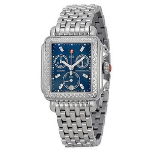 Michele Michele Deco Diamond Chronograph Blue Dial Stainless Steel Ladies Watch