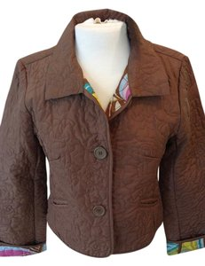 DFA New York Quilted Three Front Buttons Brown/ Multi Lining Blazer
