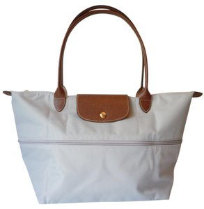 Longchamp Nylon Leather Travel Tote in gray