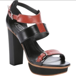 Tod's Made In Italy Luxury Leather Black / Red Platforms