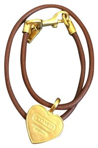 Coach Leather Brown Brass Heart Charm