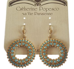 Catherine Popesco CATHERINE POPESCO Pacific Opal w/Turquoise Circle Swarovski Earrings