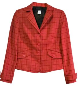 J.Crew 100% Wool Pinstriping Fully Lined red Blazer