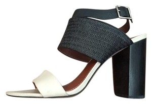 Elizabeth and James White Colorblock Black Sandals