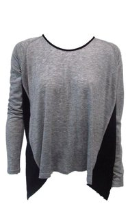 Quinn Granite Knit Split Back T Shirt Gray