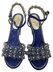 Chanel Runway Pearls Limited Royal Blue Sandals
