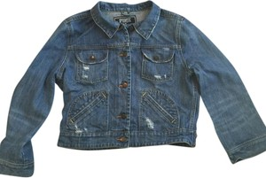 Victoria's Secret Pink Cropped Denim Distressed blue Womens Jean Jacket