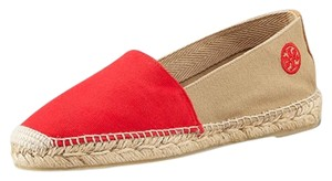 Tory Burch Espadrille Two-tone Woven Red, tan Flats