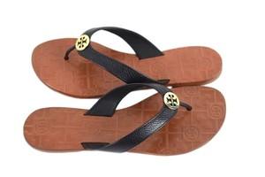 Tory Burch 35055 Thora Tumbled Leather Black/Gold Sandals
