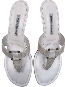 Manolo Blahnik Alligator Kitten Heels White Sandals