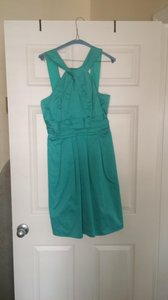 David's Bridal Mermaid (teal) Short Cotton Dress With Y-neck And Skirt Pleating (83690) Dress