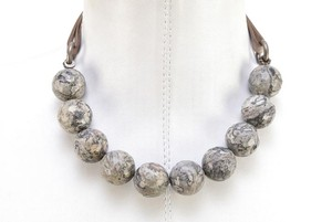 Brunello Cucinelli Brunello Cucinelli Rhyolite Bead Stand Necklace Leather SS Silver