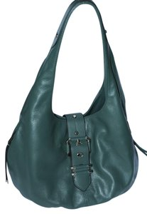 B. Makowsky Leather Animal Print Hobo Bag